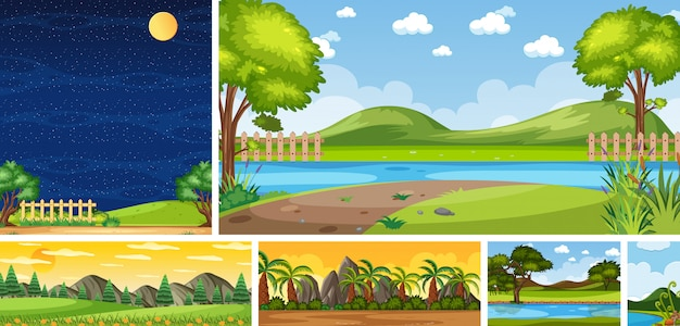 Set of different nature place scene in vertical and horizon scenes at daytime and night