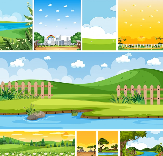 Set of different nature place scene in vertical and horizon scenes at daytime