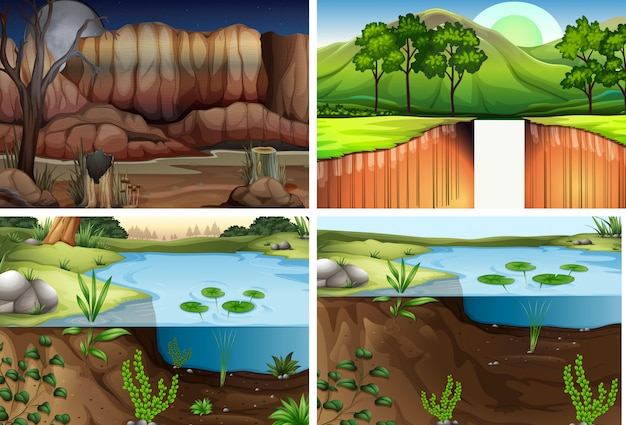 Set of different nature scene