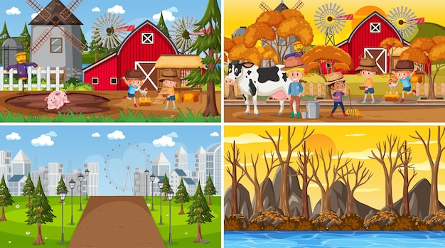 Set of different nature scenes background in cartoon style