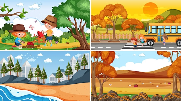Set of different nature scenes background with people