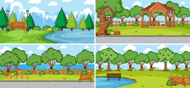 Set of different nature scenes cartoon style