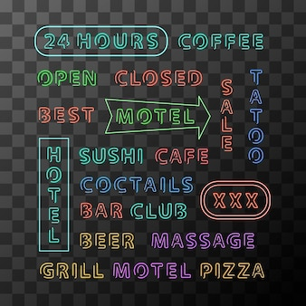 Set of different neon sign boards for night city on transparent background