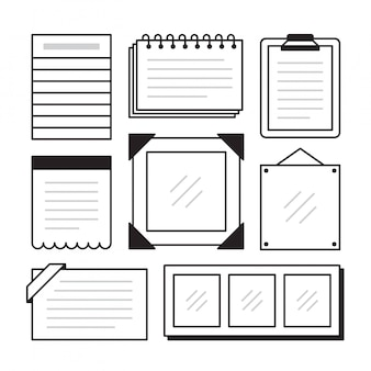 Set of different note papers on isolated .  illustration