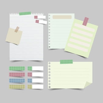 Set of different note papers isolated
