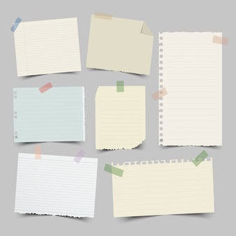 Set of different note papers