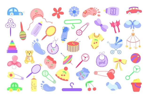 아기를 위해 다른 물건을 설정하십시오. 어린이 테마의 스티커 시트..