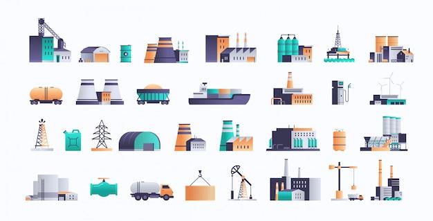 Набор различных значков объектов нефтедобывающей промышленности добывающего производства