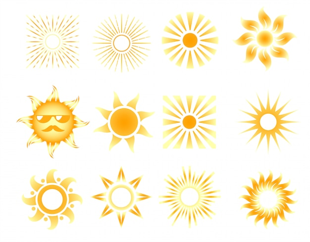 Set of different orange sun icons