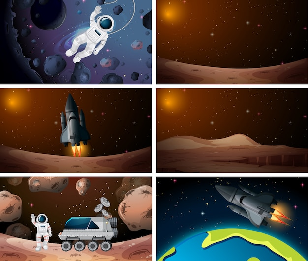 Set of different outer space scenes background