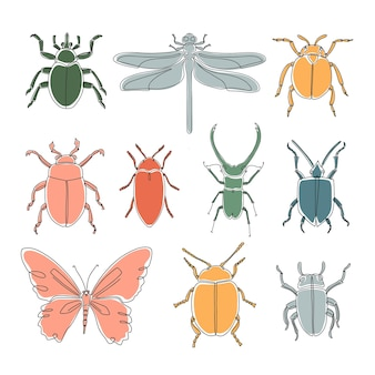 Set of different outline abstract insects. hand  drawn vector illustration for pattern, logo, design.