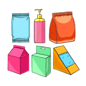 Set of different packaging. hand-drawn illustration