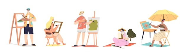Set of different painters: young and senior male and female cartoon characters drawing on easels or sketching isolated on white background. flat vector illustration