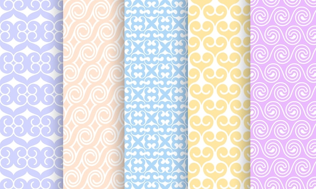 Set of different pale seamless patterns