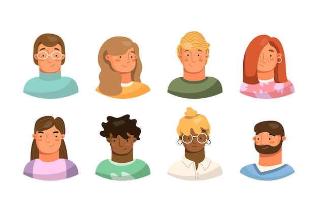 Set of different people avatars