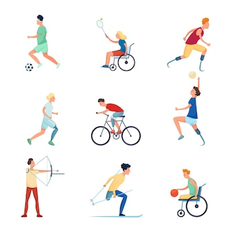 Set of different people character at paralympic sport games