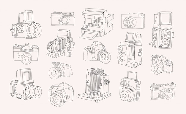 Set of different photo cameras. hand drawn contour collection in doodle style.