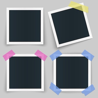 Set of different photo frames with color tape and shadow isolated on transparent background.
