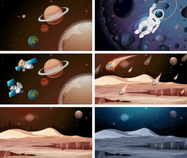 Set of different planet scenes illustration