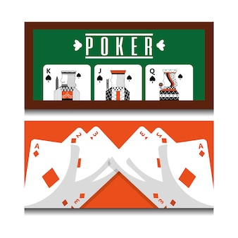 Set of different playing cards combination royal on poker table