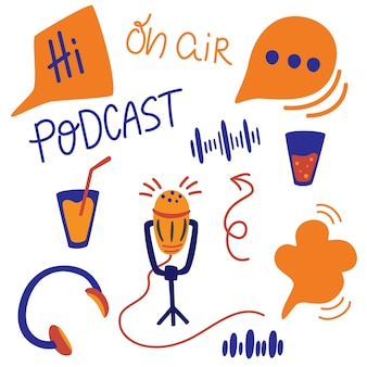 Set of different podcasting elements. vector flat cartoon illustration podcast show.