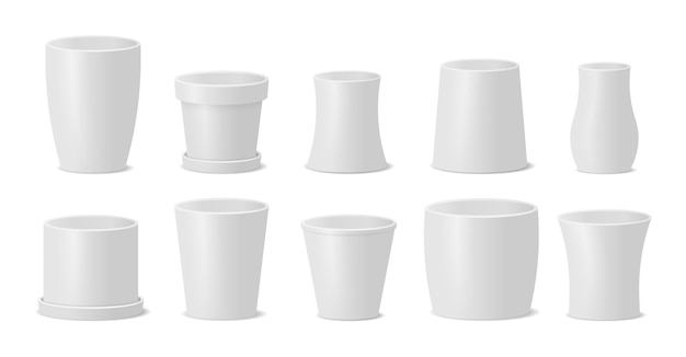 Set of different pots for plants, flower pot.