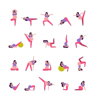 Set of different pregnant women doing yoga exercises