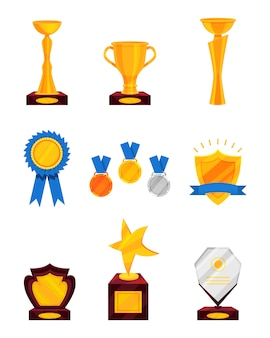 Set of different prizes. shiny golden cups, golden rosette with ribbon, medals, glass award. trophies for winners.