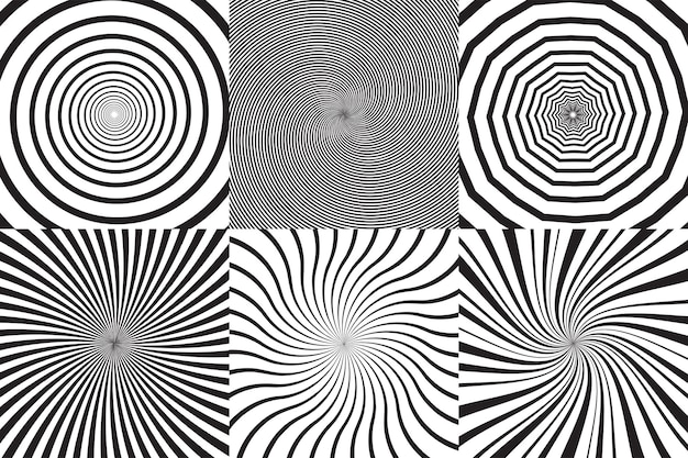 Set of different psychedelic spiral, vortex, twirl. vector monochrome backgrounds collection.