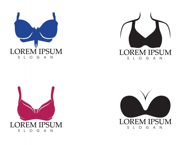 Set of different push up bras isolated over white background
