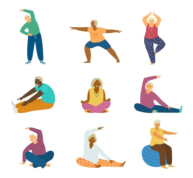 Set of different races elderly people doing fitness exercises and yoga. stretching, lotus pose, tree pose, fit ball.