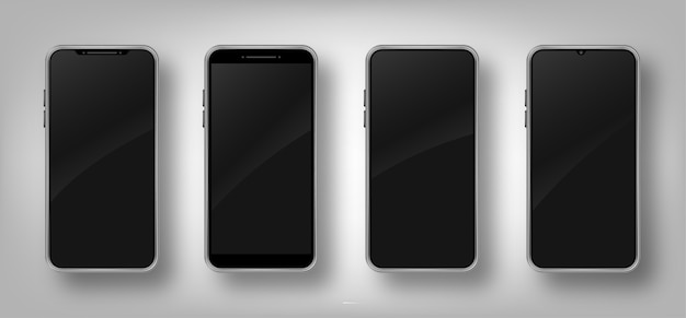 Set of different realistic smartphone . cellphone frame with blank black display.