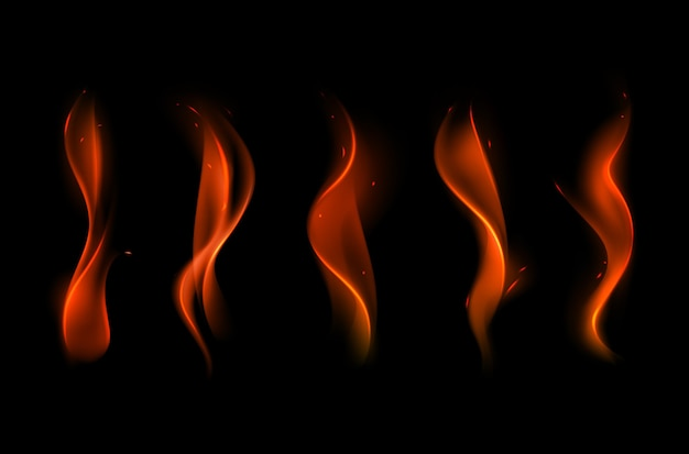 Set of  different red scarlet fire flame on background