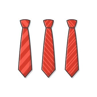 Set of different red ties  icon illustration. male necktie, men fashion style trend. necktie flat icon. striped ties illustration