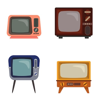 Set of different retro televisions. old tvs in cartoon style.