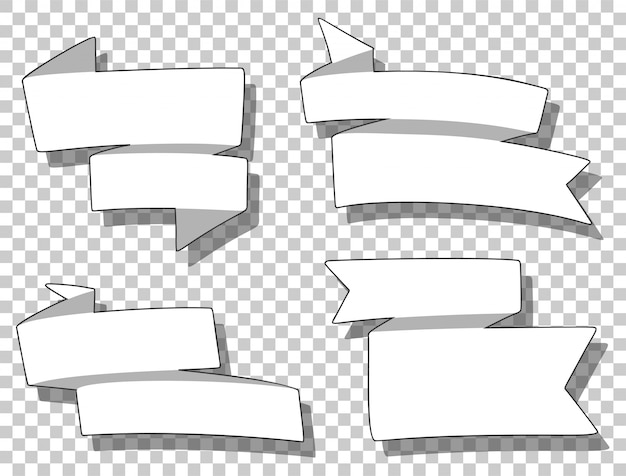Set of different ribbons in cartoon style