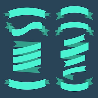 Set of different ribbons in flat style Premium Vector