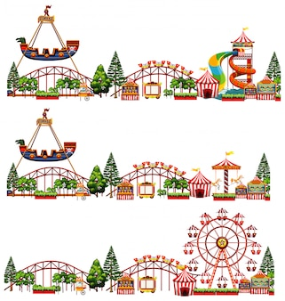 Set of different rides in the circus isolated