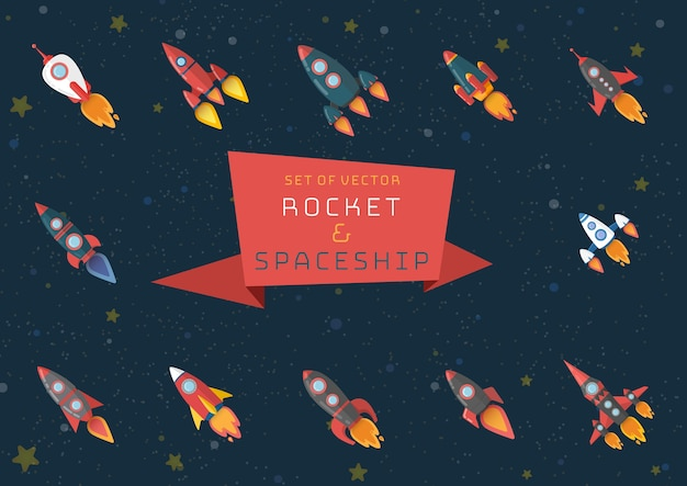 Set of of different rocket and space shuttle.