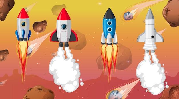 Set di diversi razzi e astronavi sullo sfondo dello spazio