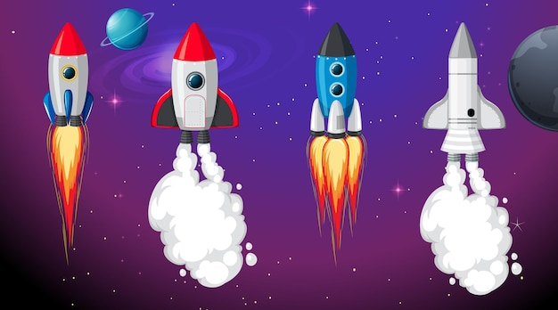 Set of different rocket and spaceship in space background