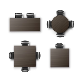 Set of different round square rectangular tables desks