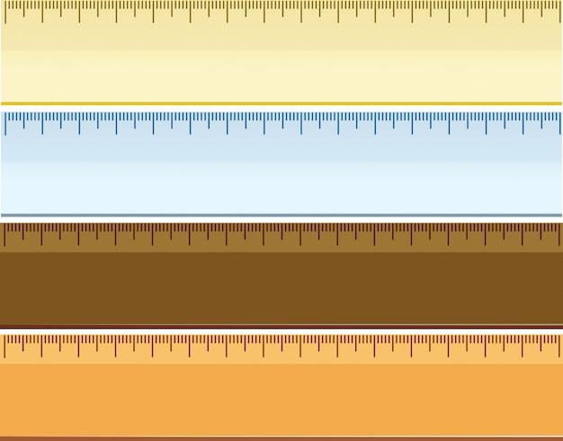 Set of different ruler