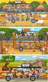 Set of different safari horizontal scenes with animals and kids cartoon character