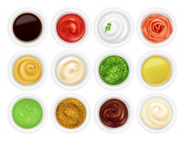 Set of different sauces in bowls