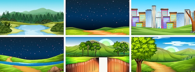 Set of different scenes or background