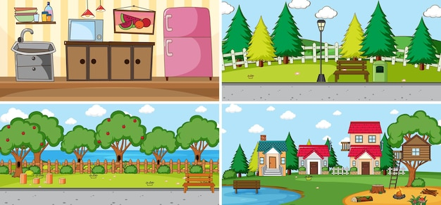 Set di scene diverse in stile cartone animato