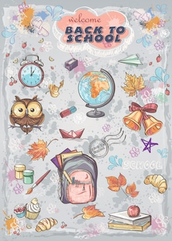 Set of different school subjects  backpack, paints, globe and autumn leaves