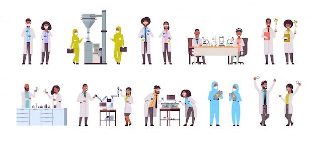 実験室で実験を行うさまざまな科学研究者を設定する