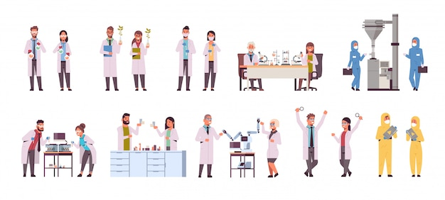 Set different scientific researchers making experiments in laboratory